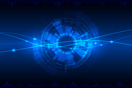 Blue abstract technological background with various technological elements. Vector Vettoriali