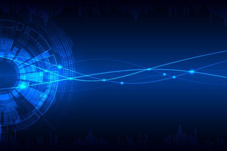 azul: Fondo tecnológico abstracto azul con diferentes elementos tecnológicos. Vector
