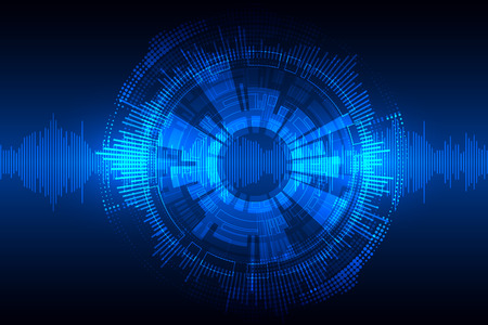 Blue abstract technological background with various technological elements. Vector Illustration