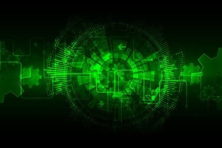 Fondo tecnológico abstracto verde con diversos elementos tecnológicos. Vector Foto de archivo - 51876996