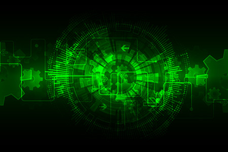 Green abstract technological background with various technological elements. Vector