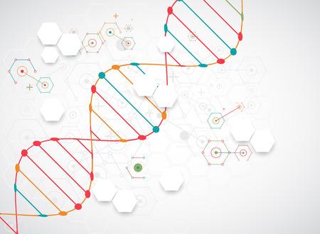 plantilla de la ciencia, el papel pintado o un banner con moléculas de ADN. Ilustración del vector.