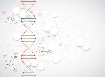 biosynthesis: Science template, wallpaper or banner with a DNA molecules. Vector illustration.