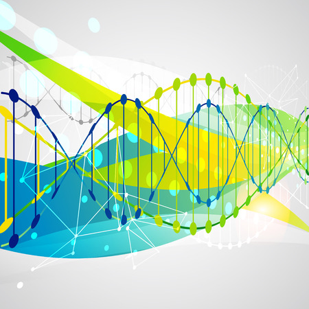nucleotide: Science template, colorful wave, wallpaper or banner with a DNA molecules. illustration. Illustration