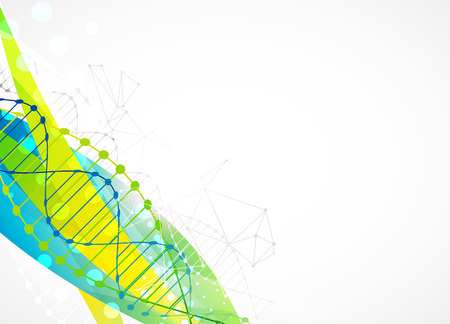 Science template, colorful wave, wallpaper with a DNA molecules. illustration. Illustration