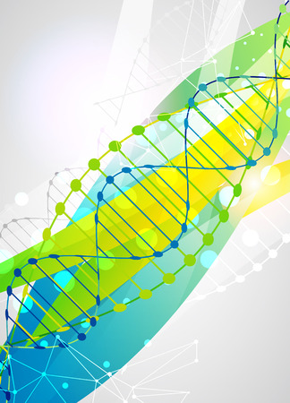 nucleotide: Science template, colorful wave, wallpaper with a DNA molecules. illustration. Illustration