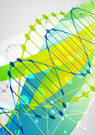 genetic information: Science template, colorful wave, wallpaper with a DNA molecules. illustration. Illustration