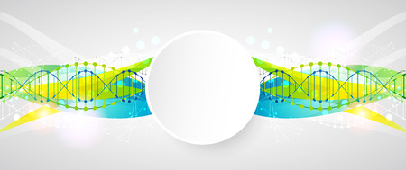 Science template, colorful wave, wallpaper with a DNA molecules. illustration. Çizim