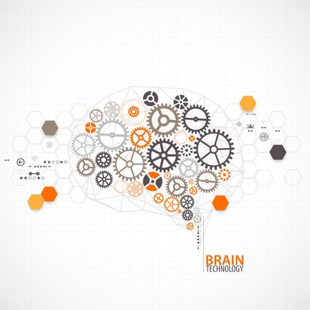 brain illustration: Abstract digital brain,technology concept.