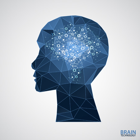 Creative brain concept background with triangular grid. Vector science illustration  イラスト・ベクター素材