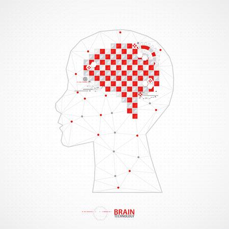 brain illustration: Creative brain concept background with triangular grid. Vector science illustration Illustration