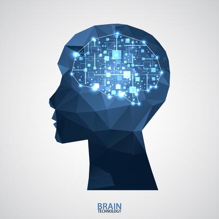 삼각형 격자 크리 에이 티브 뇌 개념 배경입니다. 벡터 과학 그림 일러스트