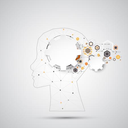 Creativo sfondo cervello concetto con griglia triangolare. Concetto di intelligenza artificiale. Vector scienza illustrazione