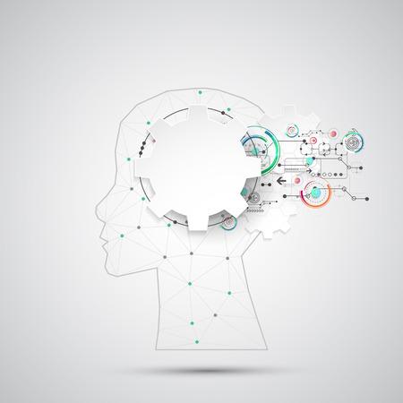 inteligencia: Creativa del concepto del fondo del cerebro con malla triangular. Concepto de la inteligencia artificial. la ciencia ilustraci�n vectorial