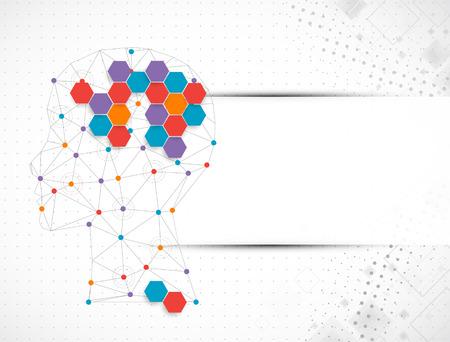 Creative brain concept background with triangular grid. Vector science illustration Vettoriali