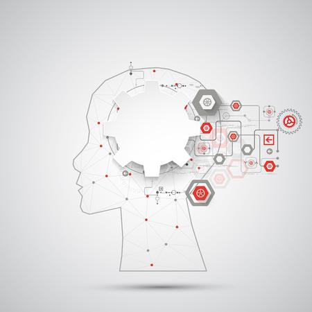 inteligencia: Creativa del concepto del fondo del cerebro con malla triangular. Concepto de la inteligencia artificial. la ciencia ilustración vectorial