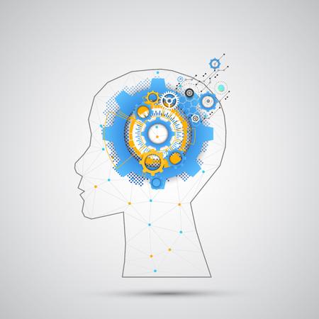 三角形格子と創造的な脳概念の背景。人工知能の概念。ベクトル科学イラスト