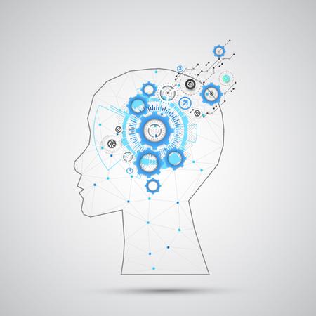 Creativo sfondo cervello concetto con griglia triangolare. Concetto di intelligenza artificiale. Vector scienza illustrazione Vettoriali