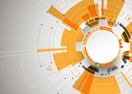 抽象的なオレンジ色のさまざまな技術要素と技術背景。構造パターン技術背景。ベクトル