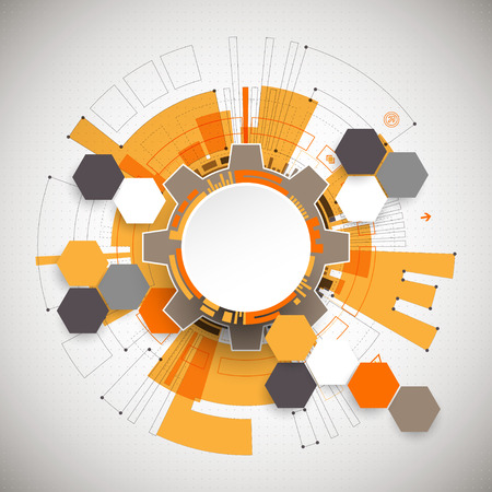 Abstract orange colored technological background with various technological elements. Structure pattern technology backdrop. Vector Vettoriali