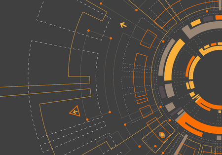 innovación: Resumen de color naranja fondo tecnológico con diversos elementos tecnológicos. patrón de estructura de tecnología de telón de fondo. Vector