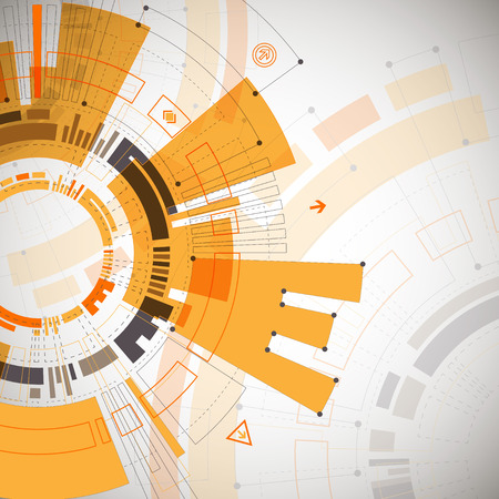 orange background abstract: Abstract orange colored technological background with various technological elements. Structure pattern technology backdrop. Vector Illustration