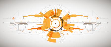 Abstract background tecnologico con vari elementi tecnologici. Contesto della tecnologia del modello di struttura. Vettore