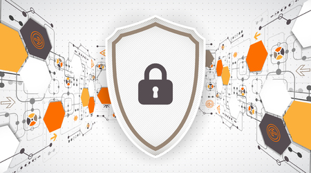 decryption: Protection background. Technology security, encode and decrypt, techno scheme, vector illustration