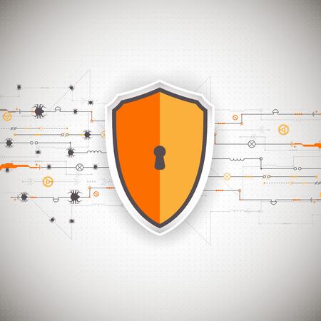 보호 배경입니다. 기술 보안, 인코딩 및 해독, 테크노 구성표, 벡터 일러스트 레이션 일러스트