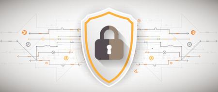 Bescherming achtergrond. ICT-beveiliging, coderen en decoderen, techno regeling, vector illustratie Vector Illustratie