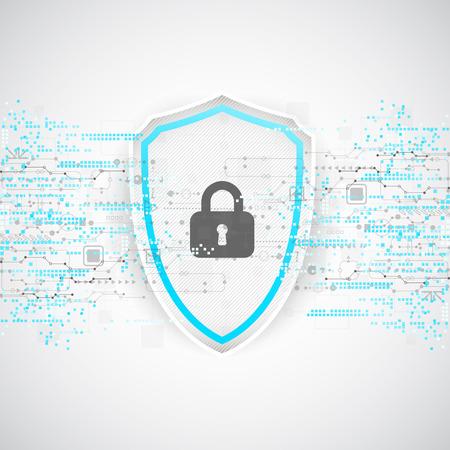 fondo di protezione. Security Technology, codificare e decodificare, schema techno, illustrazione vettoriale