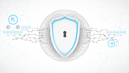 decrypt: Protection background. Technology security, encode and decrypt, techno scheme, vector illustration