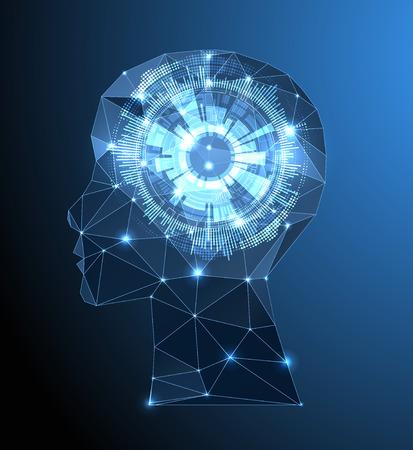 삼각형 격자 크리 에이 티브 뇌 개념 배경입니다. 인공 지능 개념입니다. 벡터 과학 그림