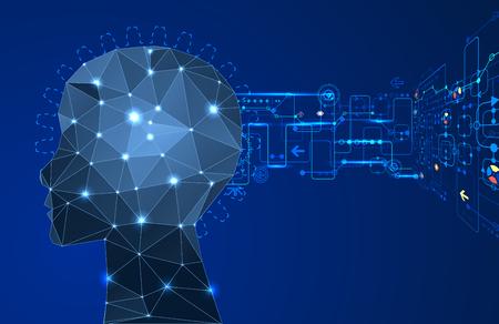 robot: Twórcza koncepcja mózg tło z trójkątnym siatki. Sztuczna Inteligencja koncepcja. Wektor ilustracji nauki