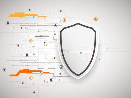 encode: Protection background. Technology security, encode and decrypt, techno scheme, vector illustration