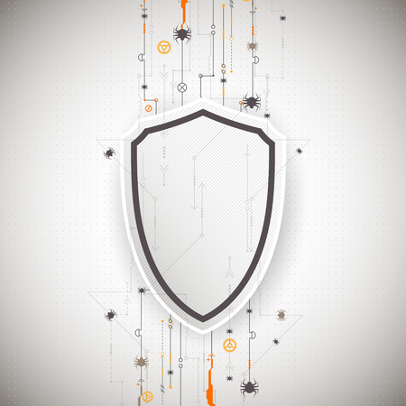 menace: Protection background. Technology security, encode and decrypt, techno scheme, vector illustration