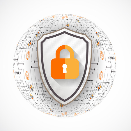 security technology: Protection background. Technology security, encode and decrypt, techno scheme, vector illustration