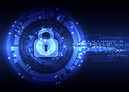 Protection concept of digital and technological. Protect mechanism, system privacy, illustration Stock Illustratie