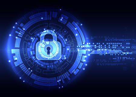 Schutzkonzept von digitalen und technologischen. Schützen Mechanismus, System Privatsphäre, Illustration