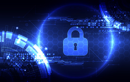 decryption: Protection concept of digital and technological. Protect mechanism, system privacy, illustration Illustration