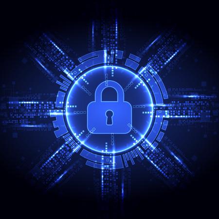 concept de protection des numérique et technologique. Protéger le mécanisme, la confidentialité du système, illustration vectorielle Vecteurs