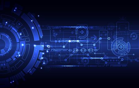tecnología informatica: azul de fondo abstracto de la tecnología de comunicación digital. ilustración vectorial