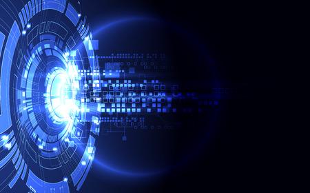Astratto sfondo blu tecnologia digitale della comunicazione. Illustrazione vettoriale
