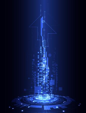 추상 블루 디지털 통신 기술 배경입니다. 벡터 일러스트 레이 션