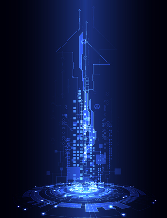 Abstract blue digital communication technology background. Vector illustration