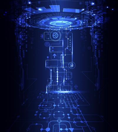 azul de fondo abstracto de la tecnología de comunicación digital. ilustración vectorial