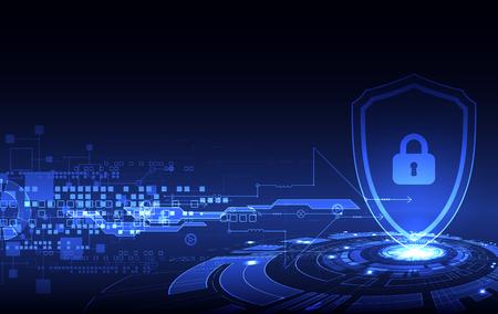 concetto di protezione del digitale e tecnologica. Proteggere il meccanismo, la privacy del sistema, illustrazione vettoriale