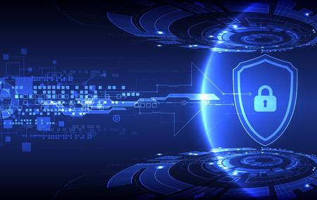 Concept de protection des numérique et technologique. Protéger le mécanisme, la confidentialité du système, illustration vectorielle Banque d'images - 56575871