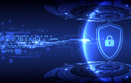 protection concept: Protection concept of digital and technological. Protect mechanism, system privacy, vector illustration