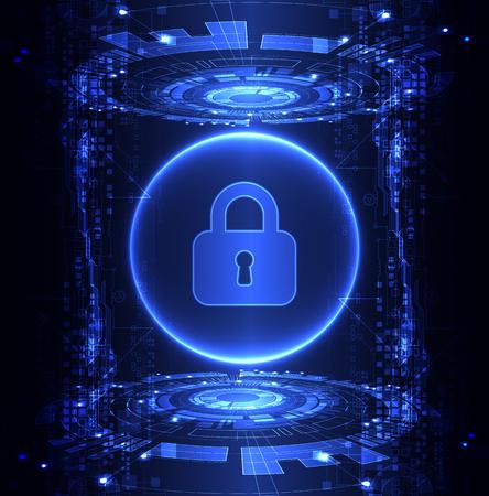 proteccion: Concepto de protección de la tecnología digital y tecnológica. Proteger mecanismo, sistema de privacidad, ilustración vectorial